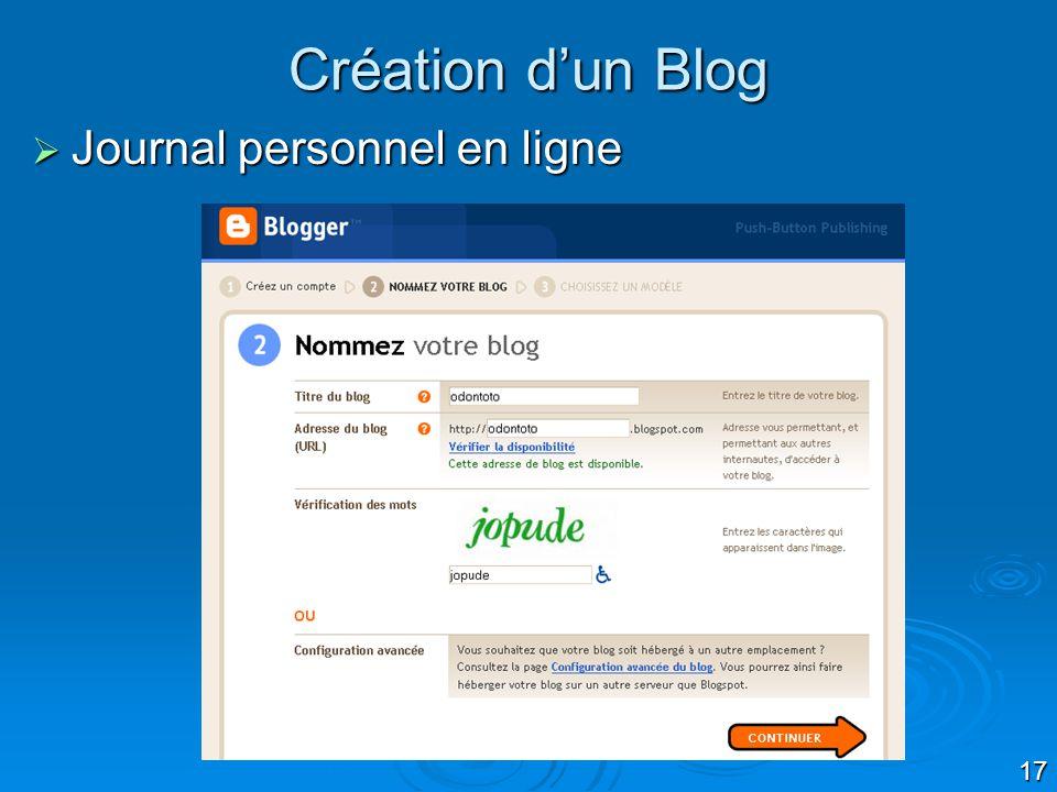 17 Création dun Blog Journal personnel en ligne Journal personnel en ligne