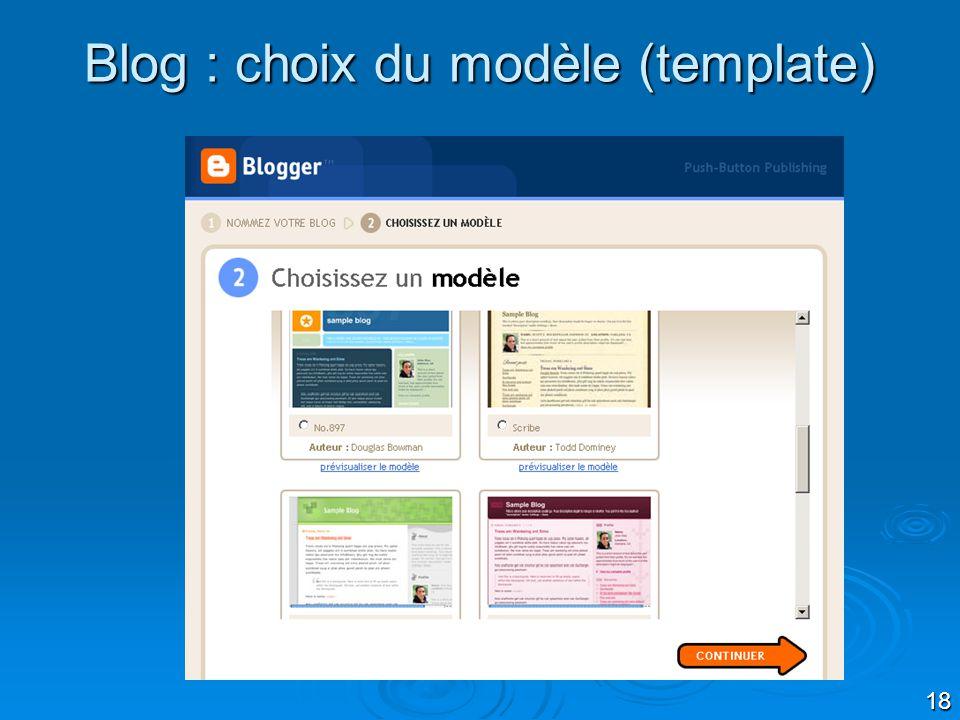 18 Blog : choix du modèle (template)