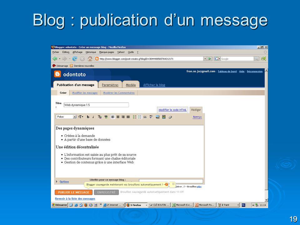 19 Blog : publication dun message