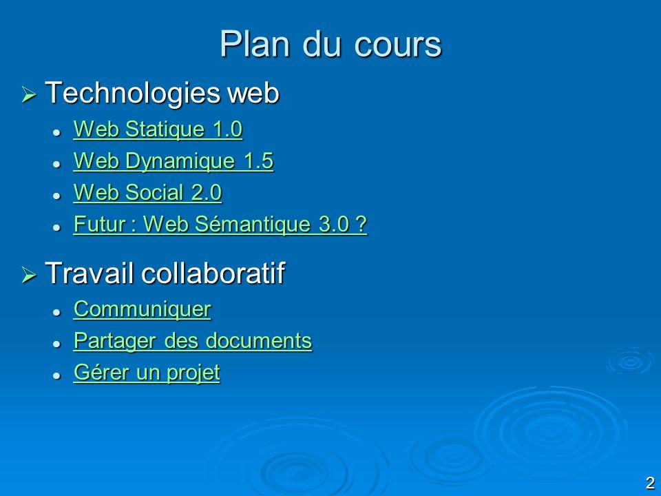 2 Plan du cours Technologies web Technologies web Web Statique 1.0 Web Statique 1.0 Web Statique 1.0 Web Statique 1.0 Web Dynamique 1.5 Web Dynamique 1.5 Web Dynamique 1.5 Web Dynamique 1.5 Web Social 2.0 Web Social 2.0 Web Social 2.0 Web Social 2.0 Futur : Web Sémantique 3.0 .
