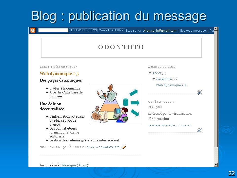 22 Blog : publication du message