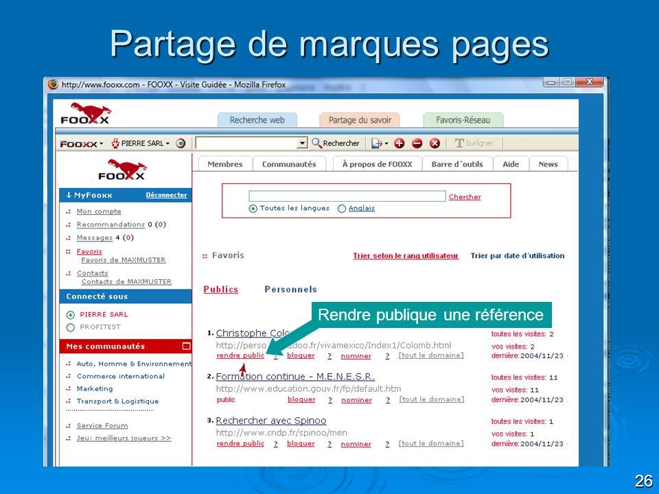 26 Partage de marques pages Rendre publique une référence