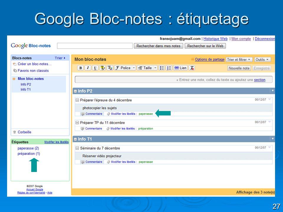27 Google Bloc-notes : étiquetage