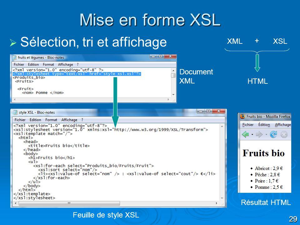 29 Sélection, tri et affichage Mise en forme XSL Feuille de style XSL Résultat HTML XMLXSL + HTML Document XML