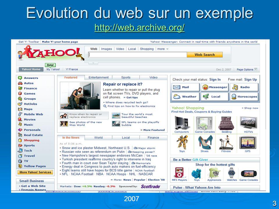 3 1996 2000 2004 2007 Evolution du web sur un exemple http://web.archive.org/ http://web.archive.org/