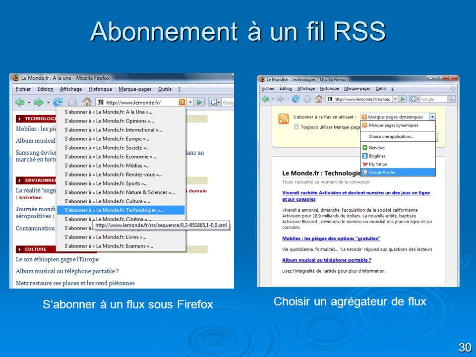 30 Abonnement à un fil RSS Sabonner à un flux sous Firefox Choisir un agrégateur de flux