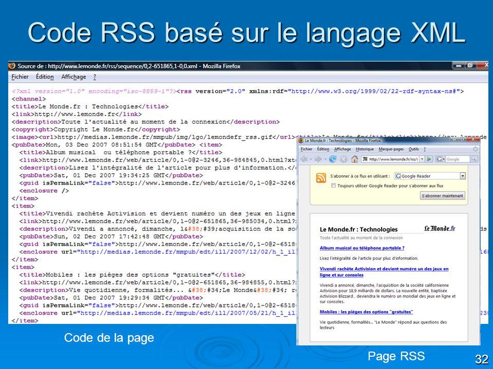 32 Code RSS basé sur le langage XML Code de la page Page RSS