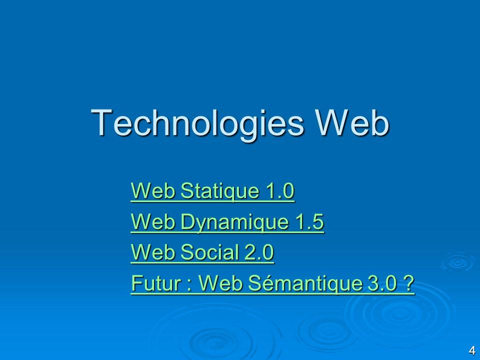 4 Technologies Web Web Statique 1.0 Web Statique 1.0 Web Dynamique 1.5 Web Dynamique 1.5 Web Social 2.0 Web Social 2.0 Futur : Web Sémantique 3.0 .