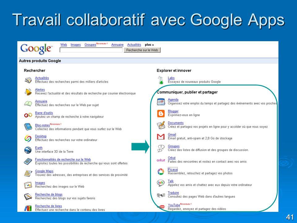41 Travail collaboratif avec Google Apps