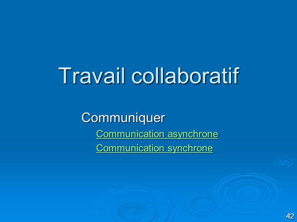 42 Travail collaboratif Communiquer Communication asynchrone Communication asynchrone Communication synchrone Communication synchrone
