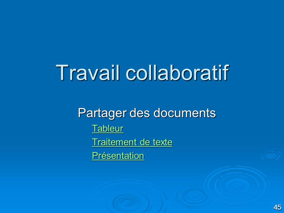 45 Travail collaboratif Partager des documents Tableur Traitement de texte Traitement de texte Présentation