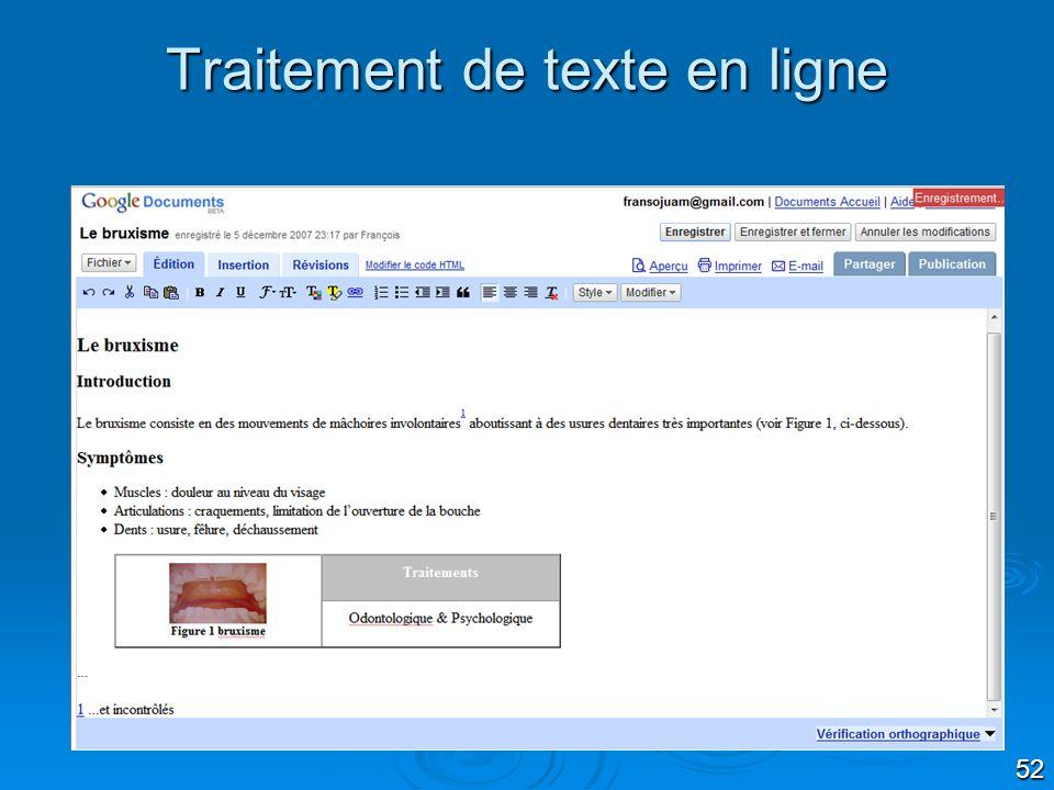 52 Traitement de texte en ligne