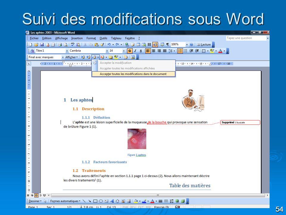 54 Suivi des modifications sous Word