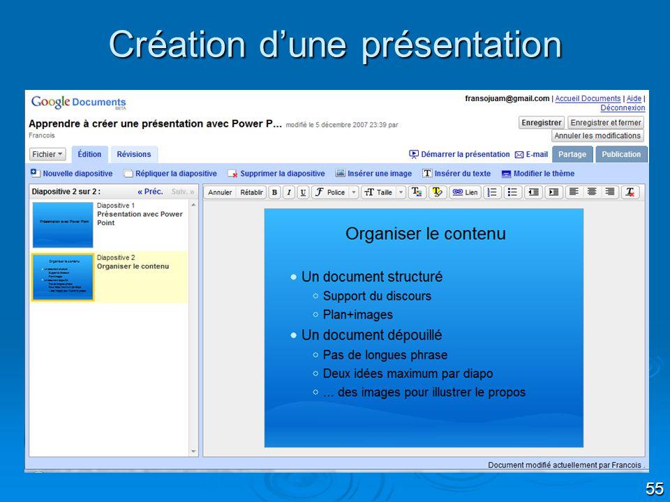 55 Création dune présentation