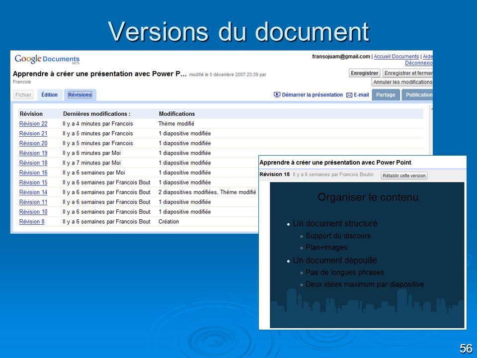 56 Versions du document