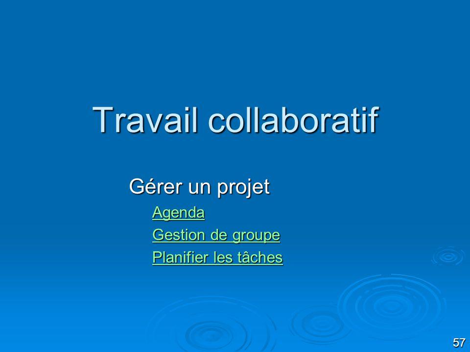 57 Travail collaboratif Gérer un projet Agenda Gestion de groupe Gestion de groupe Planifier les tâches Planifier les tâches
