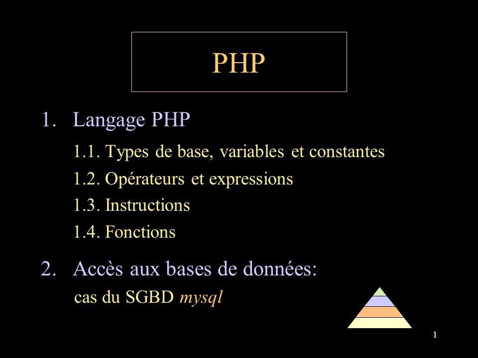 1 PHP 1.Langage PHP 1.1.Types de base, variables et constantes 1.2.