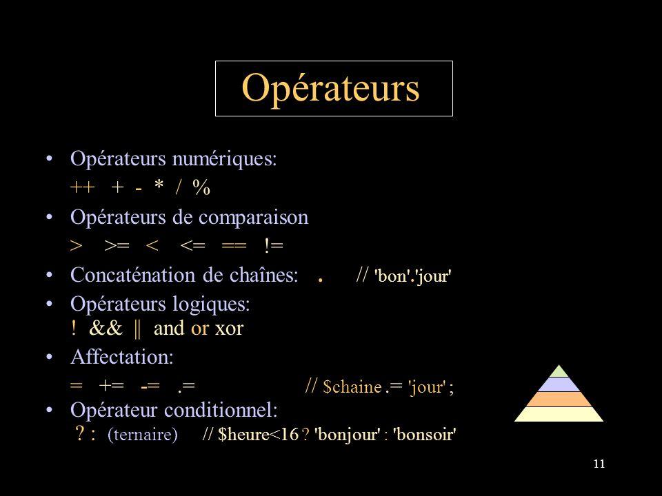 11 Opérateurs Opérateurs numériques: ++ + - * / % Opérateurs de comparaison > >= < <= == != Concaténation de chaînes:.