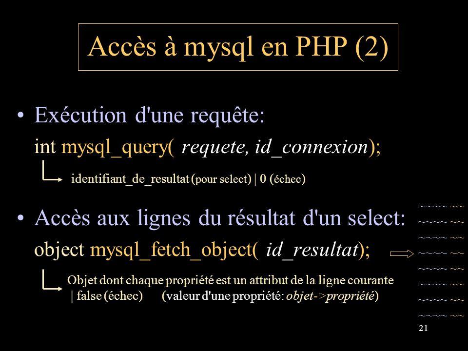 21 Accès à mysql en PHP (2) Exécution d une requête: int mysql_query( requete, id_connexion); Accès aux lignes du résultat d un select: object mysql_fetch_object( id_resultat); identifiant_de_resultat ( pour select ) | 0 ( échec ) Objet dont chaque propriété est un attribut de la ligne courante | false (échec) (valeur d une propriété: objet->propriété) ~~~~ ~~