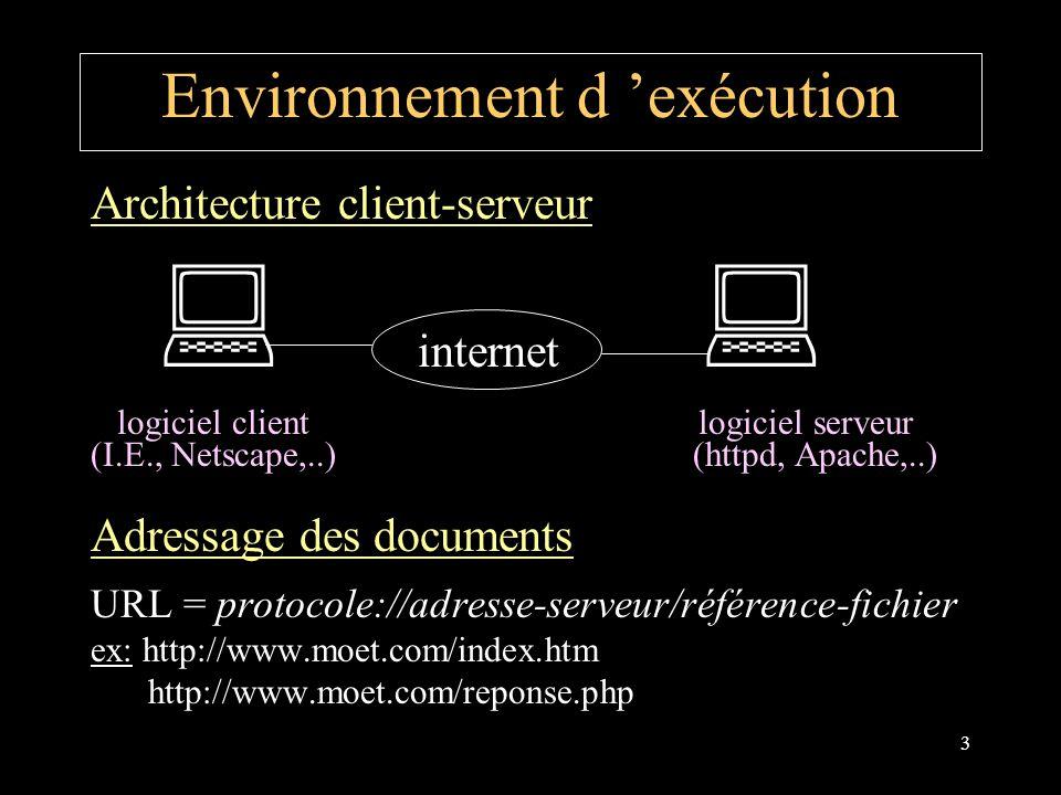 3 Environnement d exécution Architecture client-serveur internet logiciel client logiciel serveur (I.E., Netscape,..) (httpd, Apache,..) Adressage des documents URL = protocole://adresse-serveur/référence-fichier ex: http://www.moet.com/index.htm http://www.moet.com/reponse.php