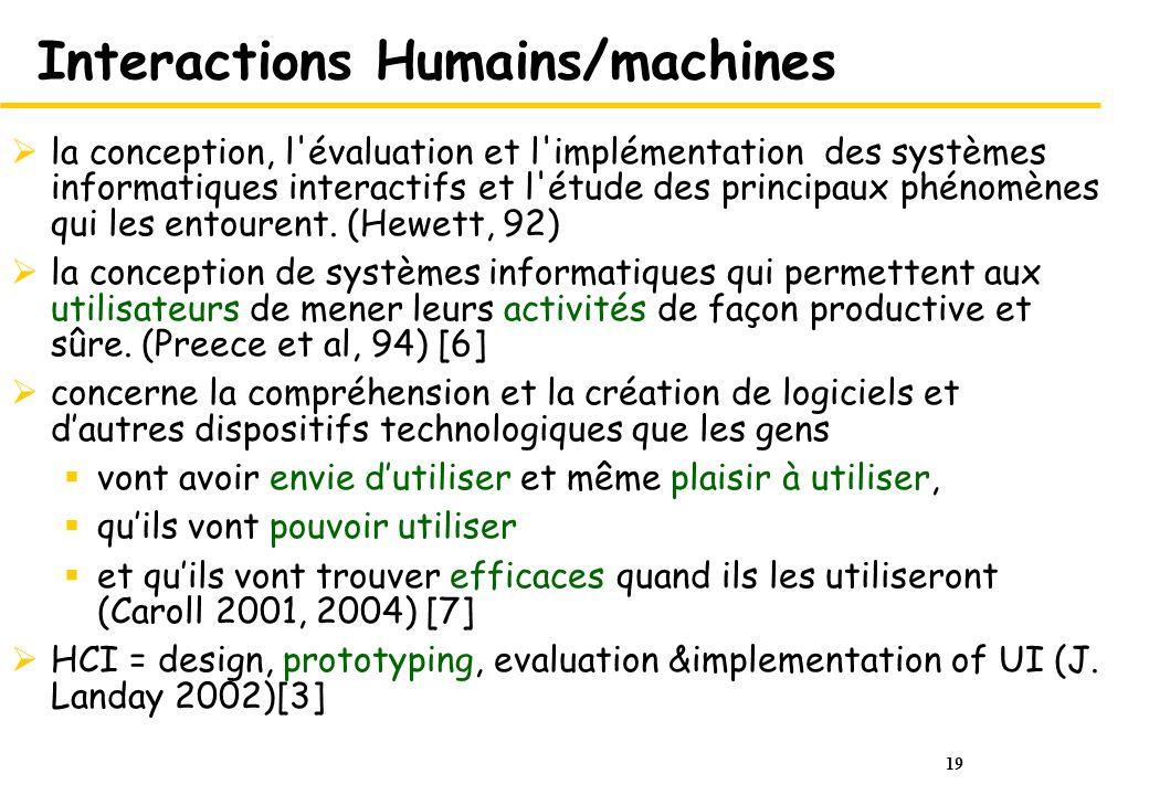 19 Interactions Humains/machines la conception, l évaluation et l implémentation des systèmes informatiques interactifs et l étude des principaux phénomènes qui les entourent.