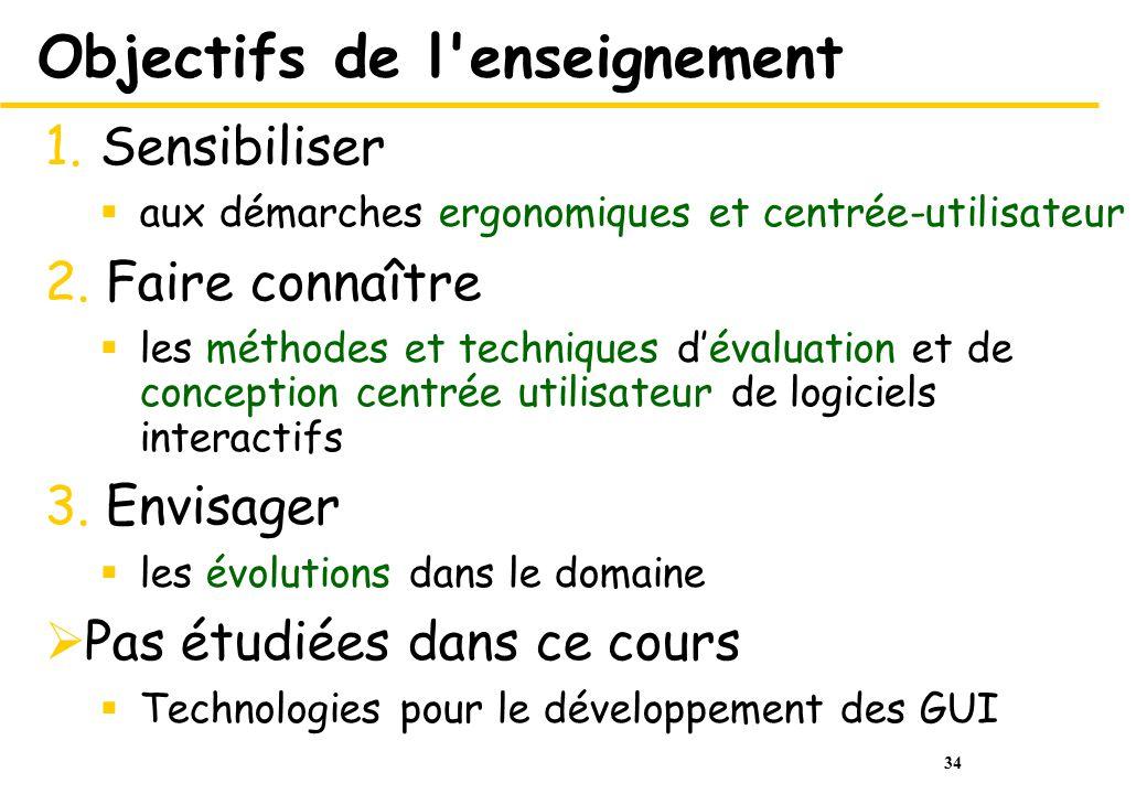 34 Objectifs de l enseignement 1.Sensibiliser aux démarches ergonomiques et centrée-utilisateur 2.