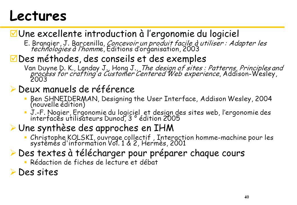 40 Lectures Une excellente introduction à lergonomie du logiciel E.