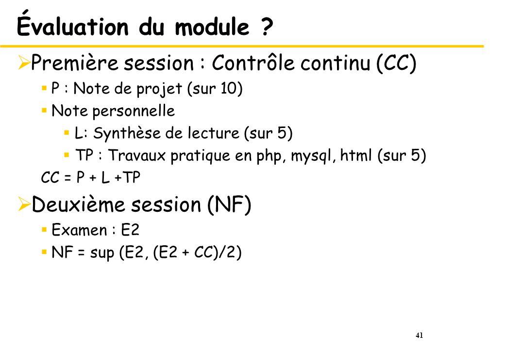 41 Évaluation du module .
