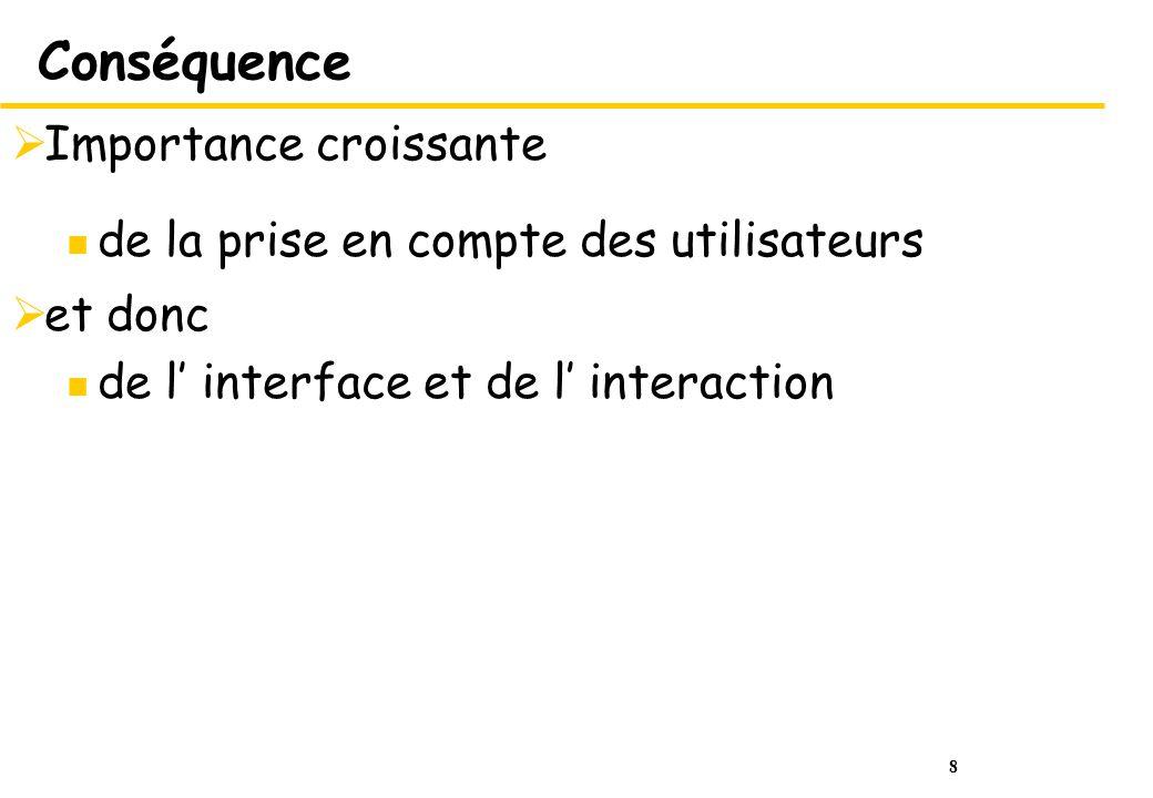 8 Conséquence Importance croissante de la prise en compte des utilisateurs et donc de l interface et de l interaction