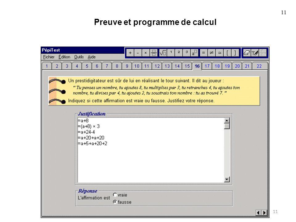 11 Preuve et programme de calcul