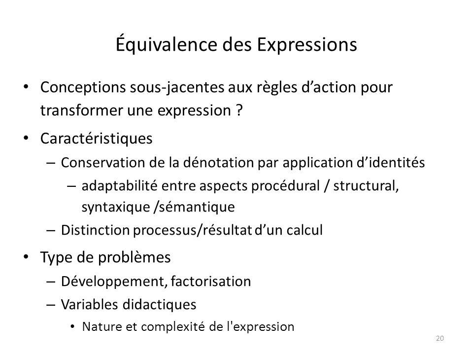 20 Équivalence des Expressions Conceptions sous-jacentes aux règles daction pour transformer une expression .