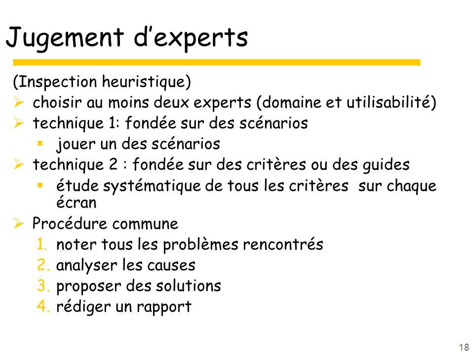 18 Jugement dexperts (Inspection heuristique) choisir au moins deux experts (domaine et utilisabilité) technique 1: fondée sur des scénarios jouer un