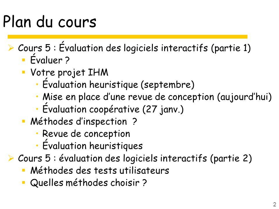 2 Plan du cours Cours 5 : Évaluation des logiciels interactifs (partie 1) Évaluer ? Votre projet IHM Évaluation heuristique (septembre) Mise en place