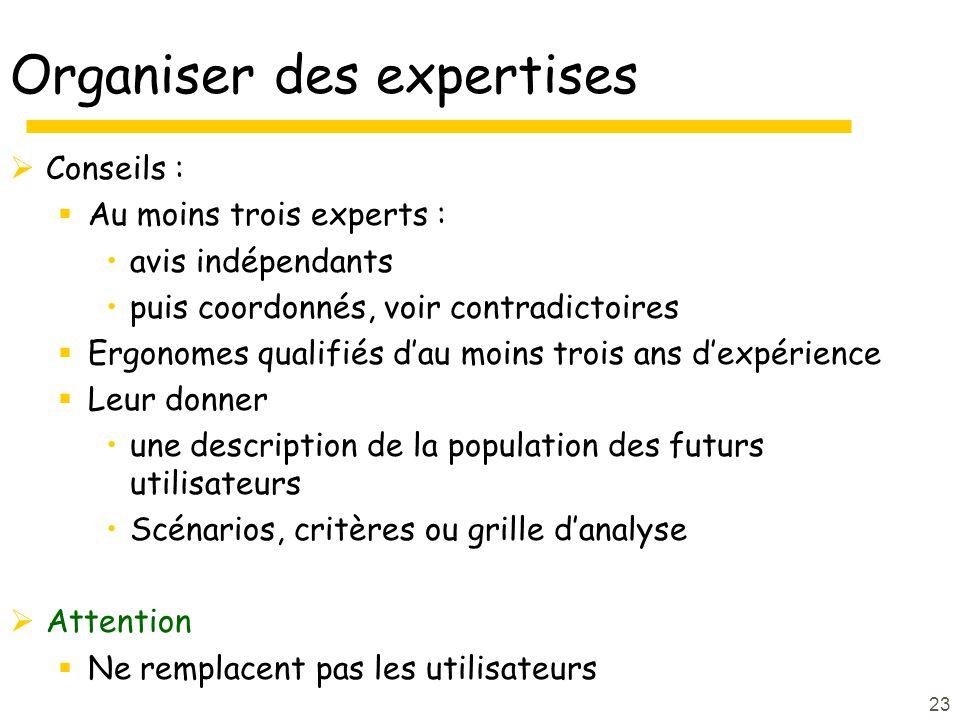 23 Organiser des expertises Conseils : Au moins trois experts : avis indépendants puis coordonnés, voir contradictoires Ergonomes qualifiés dau moins