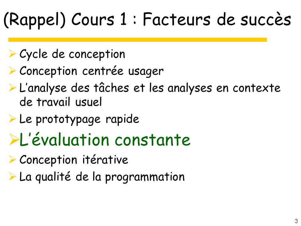 Évaluation et conception itérative (cours de James Landay)