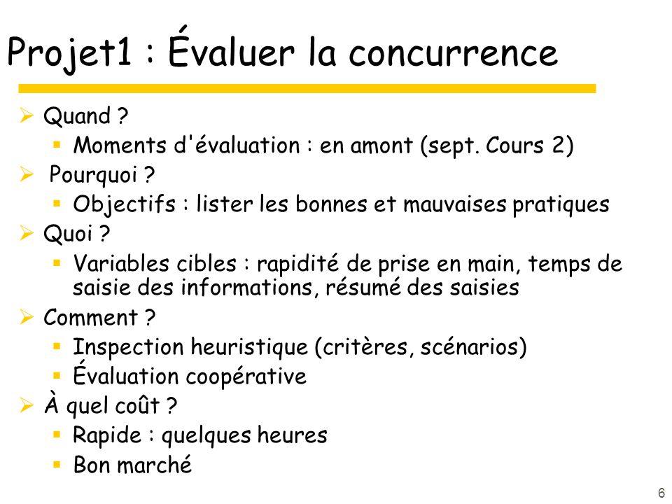 6 Projet1 : Évaluer la concurrence Quand ? Moments d'évaluation : en amont (sept. Cours 2) Pourquoi ? Objectifs : lister les bonnes et mauvaises prati
