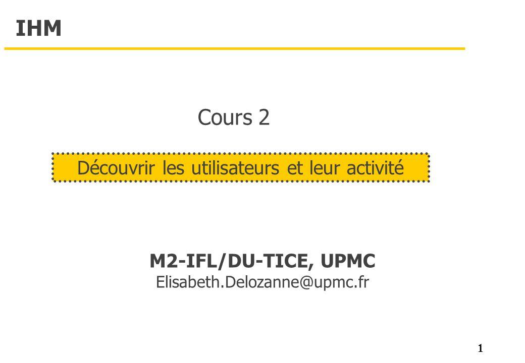 1 IHM M2-IFL/DU-TICE, UPMC Elisabeth.Delozanne@upmc.fr Découvrir les utilisateurs et leur activité Cours 2