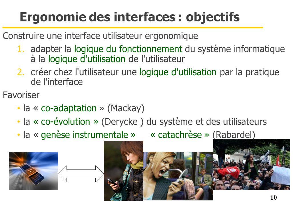 10 Ergonomie des interfaces : objectifs Construire une interface utilisateur ergonomique 1.adapter la logique du fonctionnement du système informatiqu