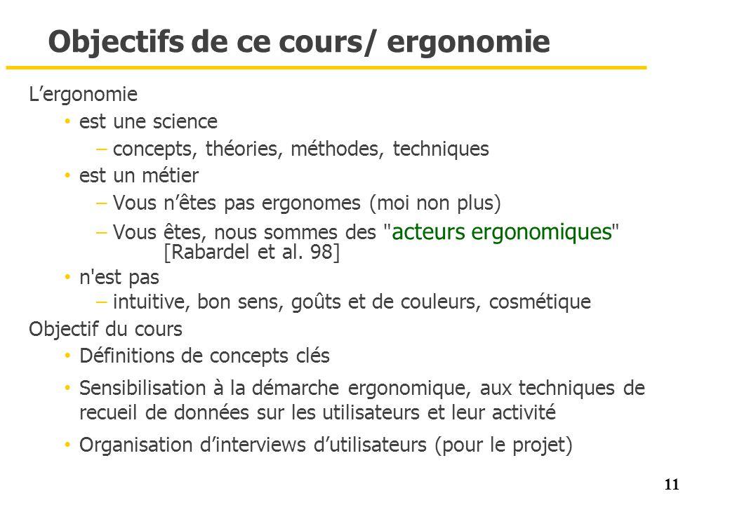 11 Objectifs de ce cours/ ergonomie Lergonomie est une science –concepts, théories, méthodes, techniques est un métier –Vous nêtes pas ergonomes (moi