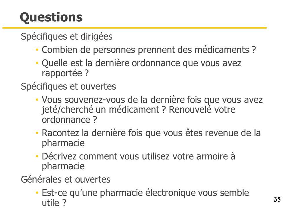 35 Questions Spécifiques et dirigées Combien de personnes prennent des médicaments ? Quelle est la dernière ordonnance que vous avez rapportée ? Spéci