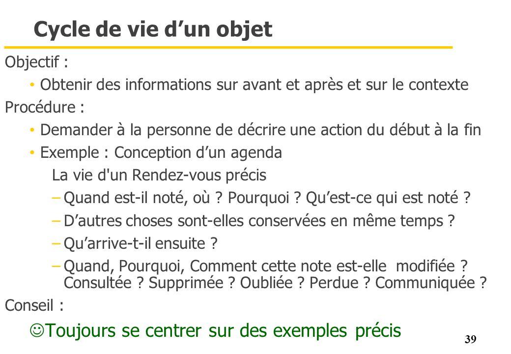39 Cycle de vie dun objet Objectif : Obtenir des informations sur avant et après et sur le contexte Procédure : Demander à la personne de décrire une
