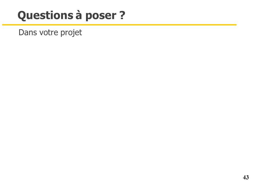 43 Questions à poser ? Dans votre projet