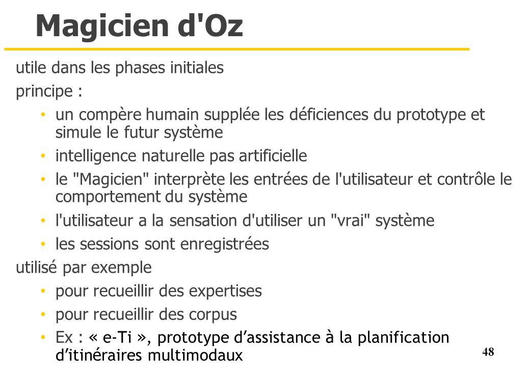 48 Magicien d'Oz utile dans les phases initiales principe : un compère humain supplée les déficiences du prototype et simule le futur système intellig