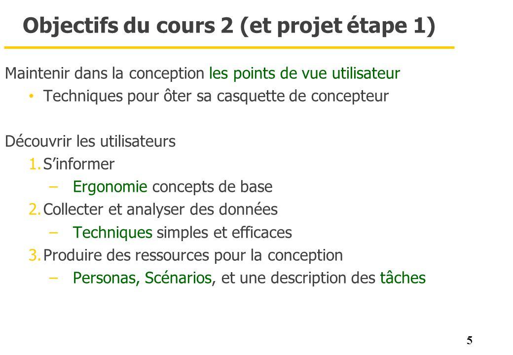 5 Objectifs du cours 2 (et projet étape 1) Maintenir dans la conception les points de vue utilisateur Techniques pour ôter sa casquette de concepteur