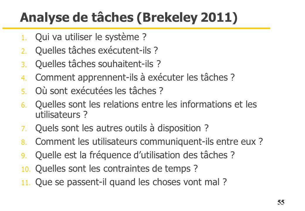 55 Analyse de tâches (Brekeley 2011) 1. Qui va utiliser le système ? 2. Quelles tâches exécutent-ils ? 3. Quelles tâches souhaitent-ils ? 4. Comment a