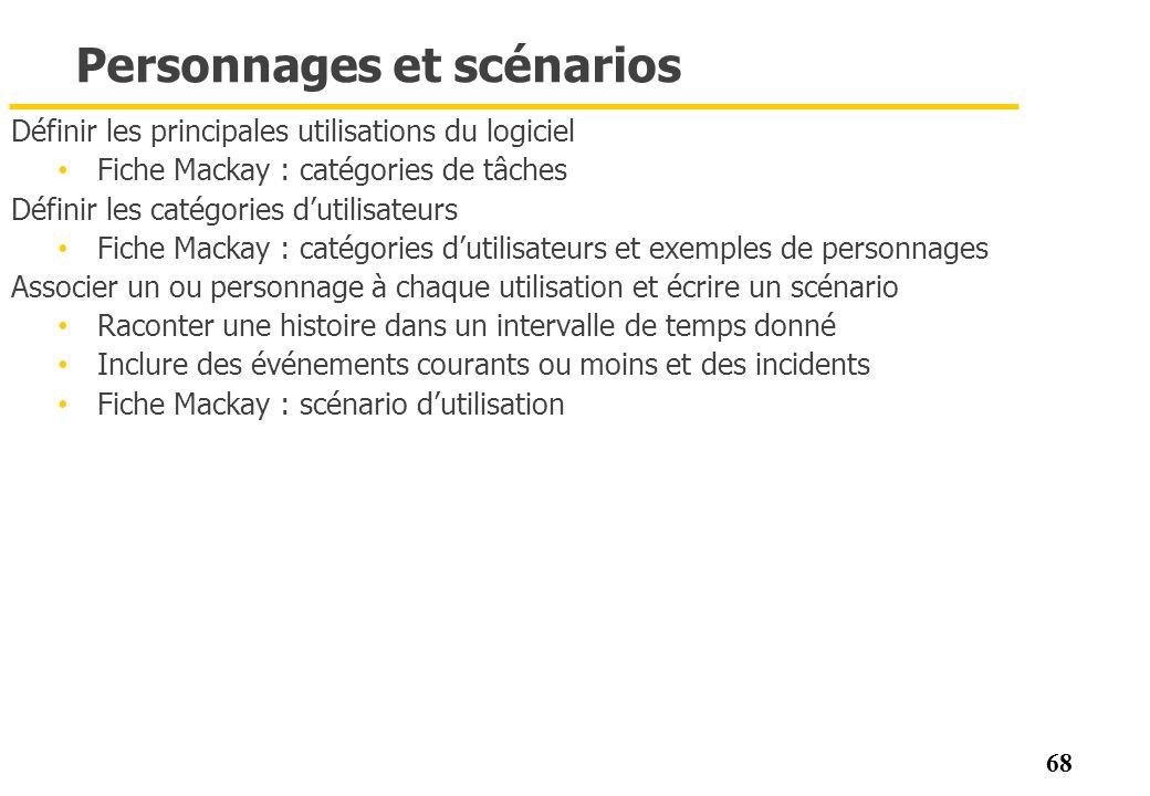 68 Personnages et scénarios Définir les principales utilisations du logiciel Fiche Mackay : catégories de tâches Définir les catégories dutilisateurs
