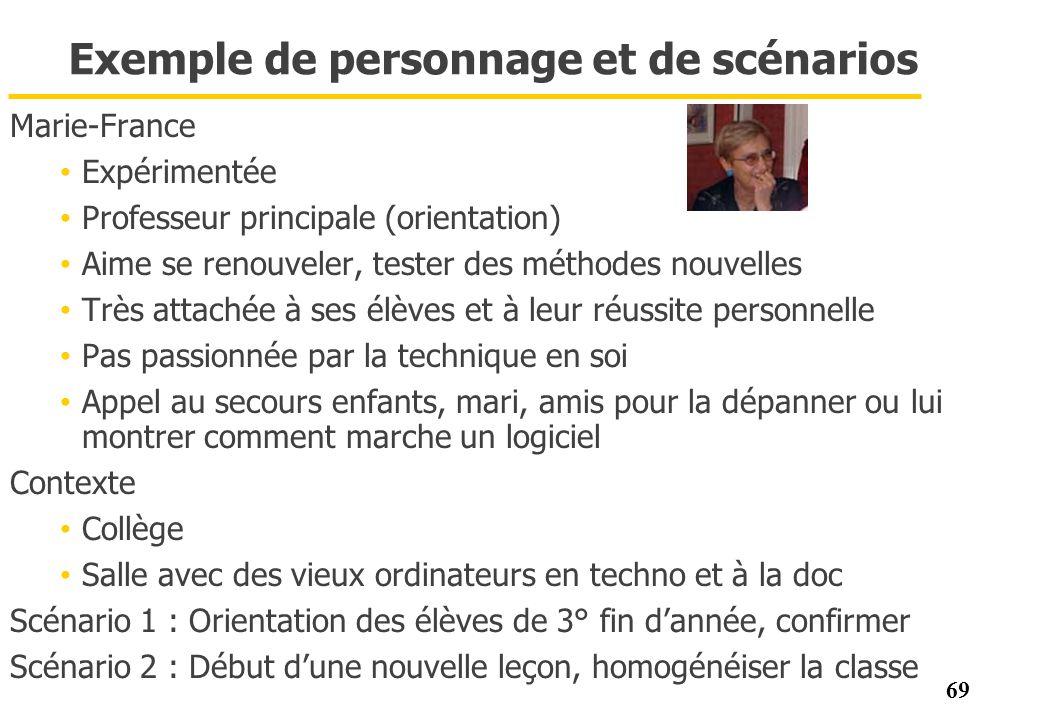 69 Exemple de personnage et de scénarios Marie-France Expérimentée Professeur principale (orientation) Aime se renouveler, tester des méthodes nouvell