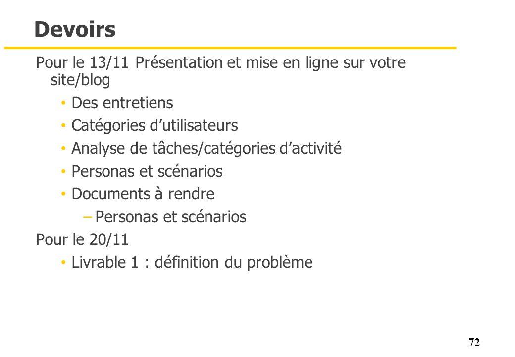 72 Devoirs Pour le 13/11 Présentation et mise en ligne sur votre site/blog Des entretiens Catégories dutilisateurs Analyse de tâches/catégories dactiv