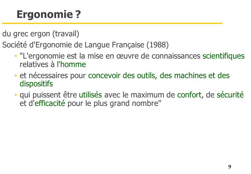 9 Ergonomie ? du grec ergon (travail) Société d'Ergonomie de Langue Française (1988)