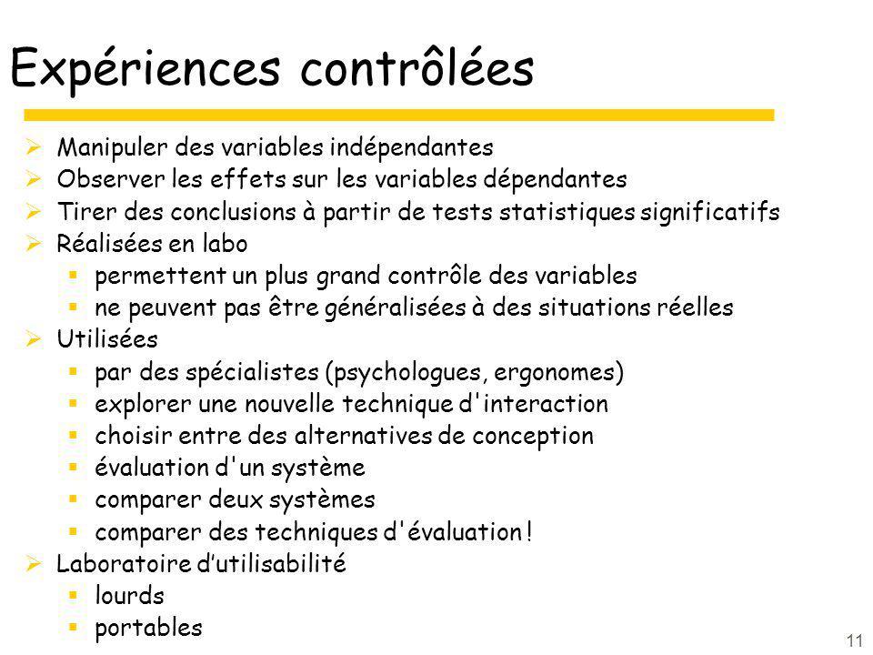 11 Expériences contrôlées Manipuler des variables indépendantes Observer les effets sur les variables dépendantes Tirer des conclusions à partir de te